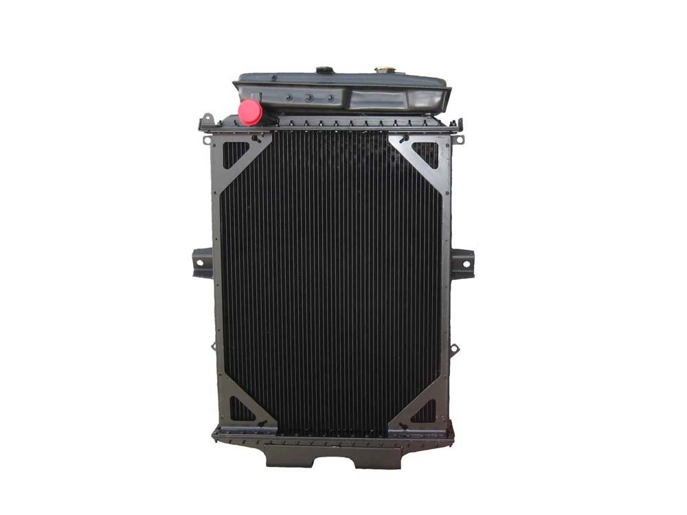 Kenworth W900 4 Row Bolt Together Dimpled Tube Radiator With Surge Tank Front View.