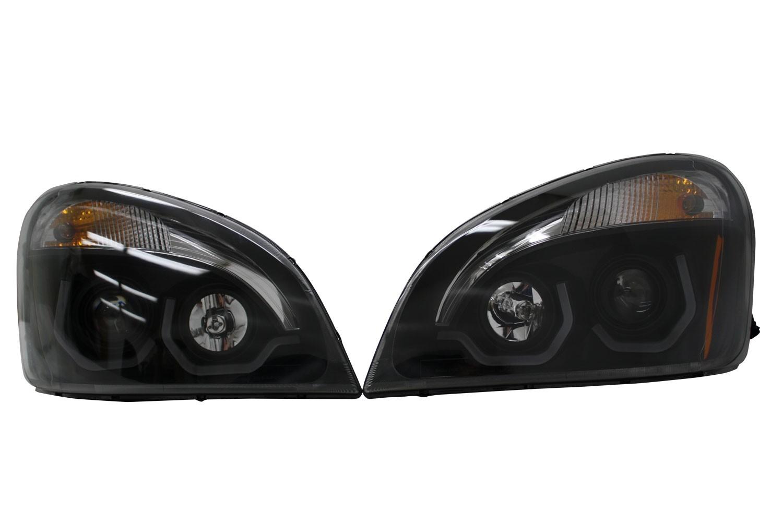 Freightliner Cascadia LED Light Bar Headlight Assembly Pair View.