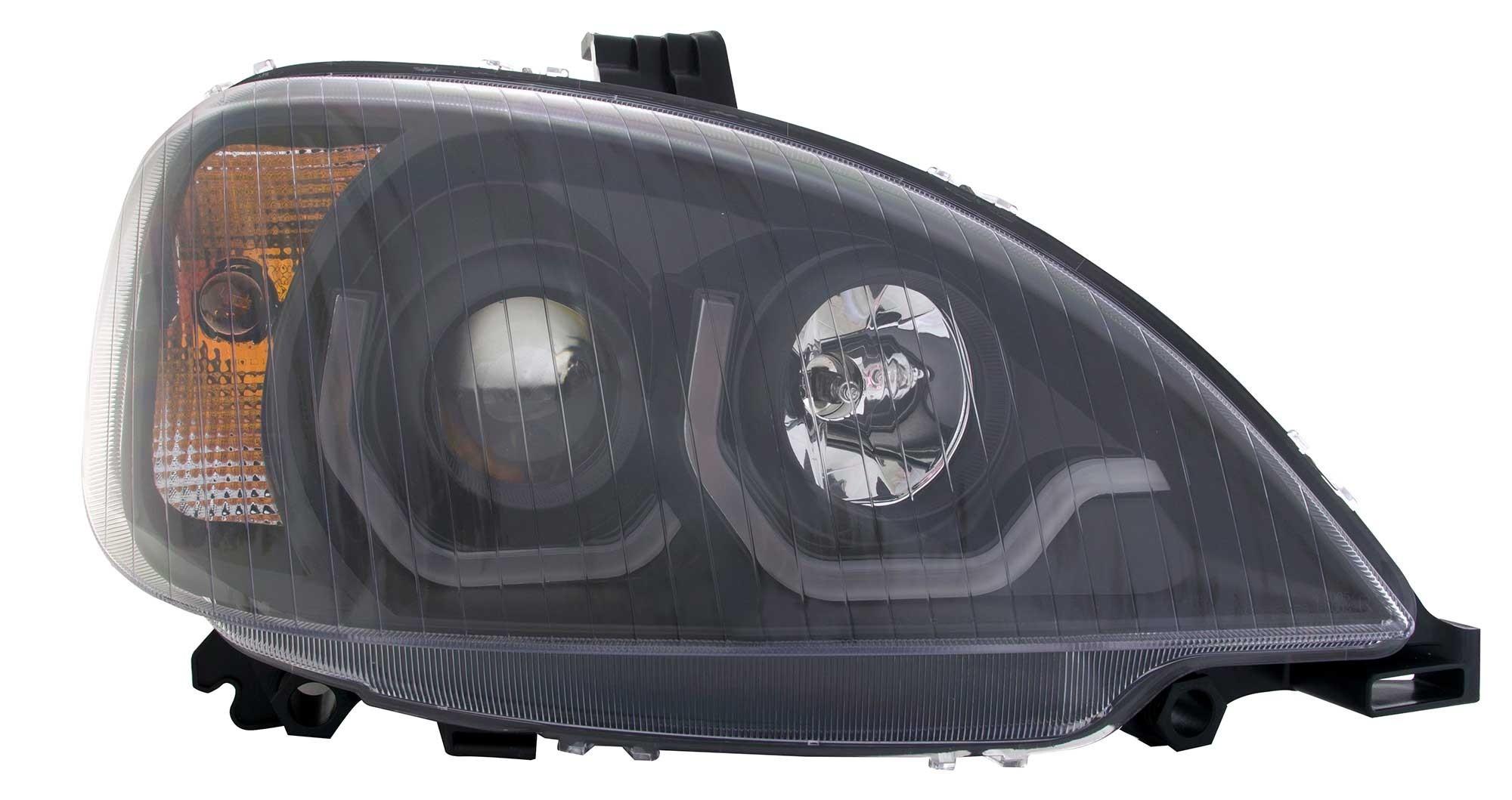 Freightliner Columbia LED Light Bar Headlight Passenger Side View.