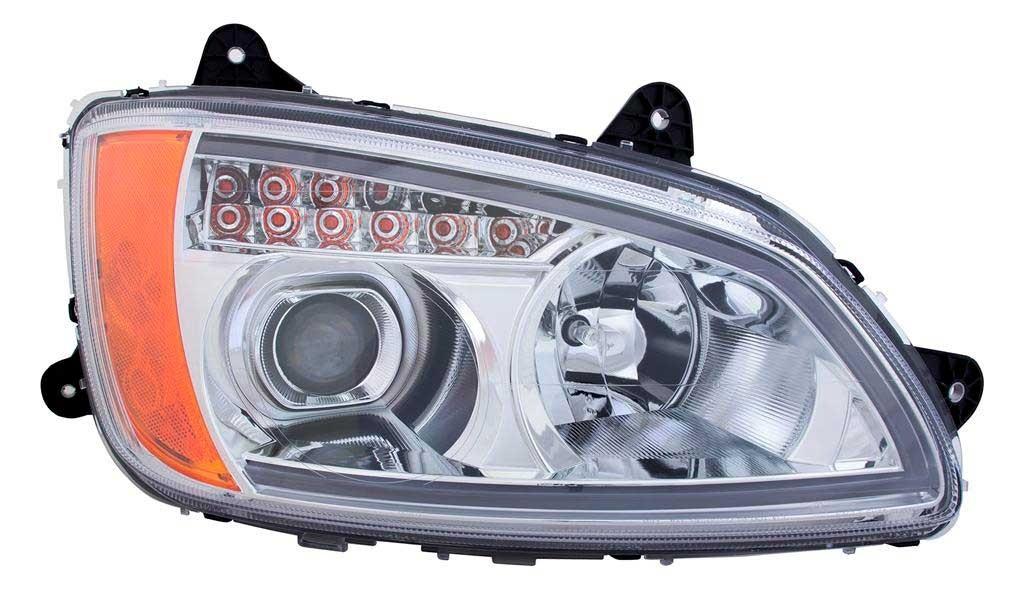 Kenworth T660 LED Bar Headlight Assembly Chrome Passenger Side View.