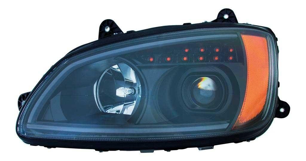 Kenworth T660 LED Bar Headlight Black Housing Driver Side View.