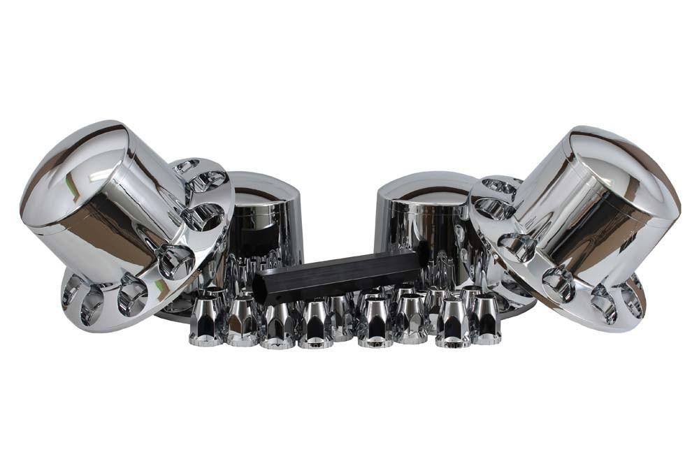 Chrome Rear Axle Cover / Cone Lug Nut Cover Kit | 33MM (four wheels)