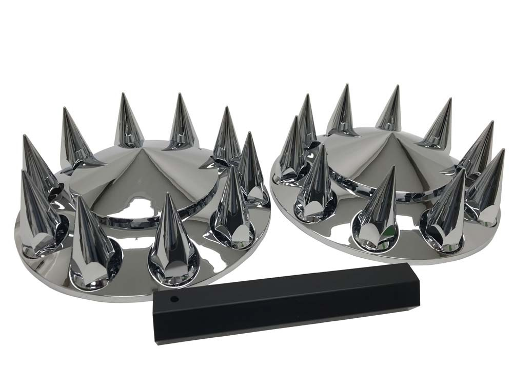 Front axle cover kit with spiked lug nut covers front view.