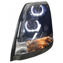 Volvo VNL LED U-Bar Headlight Driver Side Lit View.
